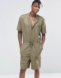 Asos Slim Short Boiler Suit With Military Styling In Khaki Burnt Olive Green