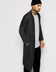 Asos Knitted Duster Coat Charcoal