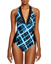 Carmen Marc Valvo Manhattan Glam Halter One Piece Swimsuit