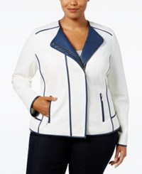 Inc International Concepts Plus Size Piped Moto Jacket Only At Macy's White Twilight