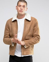 Brave Soul Faux Shearling Sherpa Collar Jacket Tan