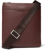 Hugo Boss Signature Grained Leather Portfolio Dark Brown