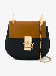 Chloe Mini Drew Bi Colour Leather Bag Navy Multi Coloured Brown Black