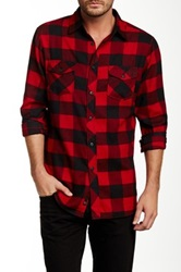 Burnside Plaid Long Sleeve Flannel Shirt Red