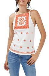 Topshop Women's Embroidered High Neck Camisole