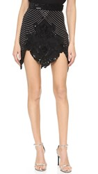 Rodarte Hand Beaded Skirt Black Silver