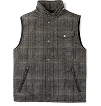 Tod's Leather Trimmed Checked Jacquard Gilet Blue