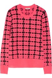 Emma Cook Neon Patterned Knitted Sweater Pink