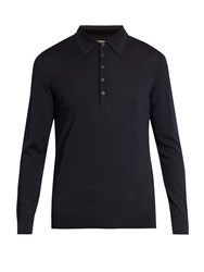 Bottega Veneta Long Sleeved Wool Polo Shirt Navy
