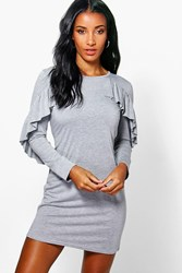 Boohoo Ruffle T Shirt Dress Grey