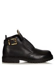 Balmain King Leather Boots Black Gold