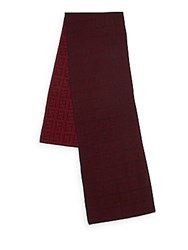 Fendi Logo Patterned Wool Scarf Bordeaux