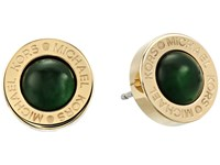 Michael Kors Logo Mother Of Pearl Stud Earrings Gold Green Earring