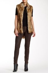 French Connection Faux Raccoon Fur Hi Lo Vest Brown