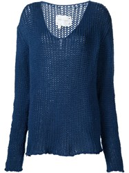 Greg Lauren 'V Neck Fisherman' Sweater Blue