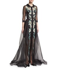 Carolina Herrera Floral Embroidered Tulle Trench Gown Black Women's