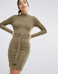 First And I D Ring Belted Bodycon Dress Olive Melange Green