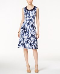 Jm Collection Printed Sleeveless Dress Only At Macy's Blue White