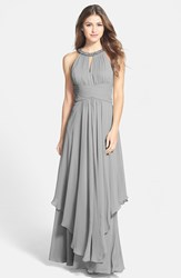 Women's Eliza J Embellished Tiered Chiffon Halter Gown Silver