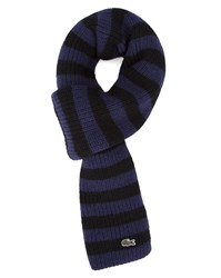 Lacoste White And Navy Sailor Stripe Wool Scarf Blue