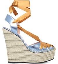 Gucci Alexis 105 Satin Wrap Leather Platform Wedges Turquoise