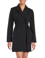 Kate Spade Brushed French Terry Short Robe Black