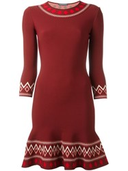 Alexander Mcqueen Patterned A Line Dress Red