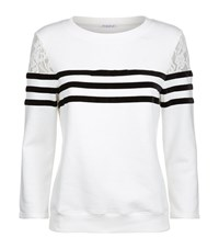 Claudie Pierlot Torres Velvet Stripe Lace Sweatshirt Female White
