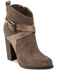 Guess Women's Lora Suede Booties Women's Shoes Brown Cafe