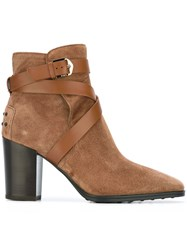 Tod's Criss Cross Strap Boots Brown