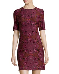 Taylor Geometric Print Half Sleeve Shift Dress Crimson Cherry