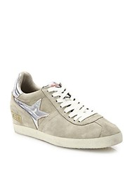 Ash Guepard Bis Suede And Metallic Leather Wedge Sneakers Silver