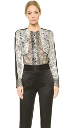 J. Mendel Long Sleeve Top Ecru Black