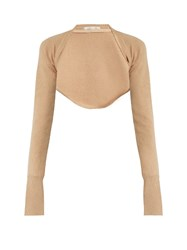 Palmer Harding Open Front Cropped Wool Knit Top Beige