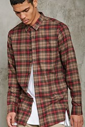 Forever 21 Slim Fit Flannel Plaid Shirt Taupe Red
