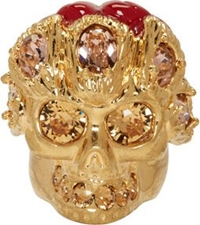 Alexander Mcqueen Gold Skull Flower Ring