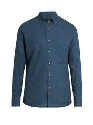 Ermenegildo Zegna Button Down Collar Cotton Shirt Navy