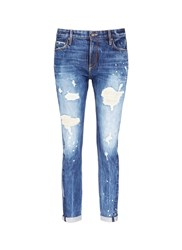 Tortoise Distressed Knit Repair Paint Splatter Boyfriend Jeans Blue