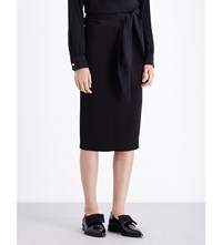 Victoria Beckham Fitted Silk And Wool Blend Pencil Skirt Black