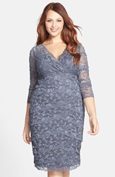 Plus Size Women's Marina Embellished Three Quarter Sleeve Lace Dress Gunmetal