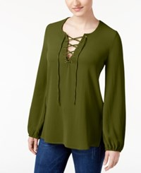 Belle Du Jour Juniors' Lace Up Tunic Blouse Olive Night