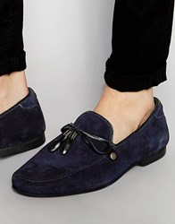 Asos Loafers In Navy Suede With Tie Front Tassel Navy