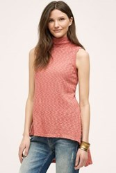 Anthropologie High Low Turtleneck Tunic Red