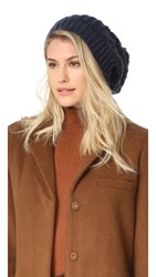 Adrienne Landau Cable Knit Slouch Hat With Fur Pom Navy