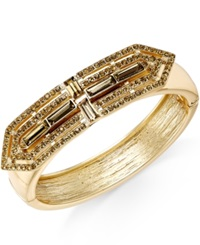 Bar Iii Gold Tone Pave Deco Hinged Bracelet