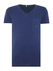 United Colors Of Benetton Pocket Detail V Neck T Shirt Navy