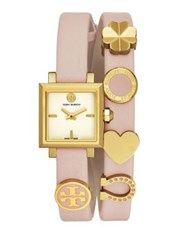 Tory Burch Saucy Goldtone Stainless Steel And Double Wrap Leather Strap Watch Pink