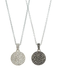 Judith Jack Necklace Marcasite And Crystal Circle Reversible Pendant