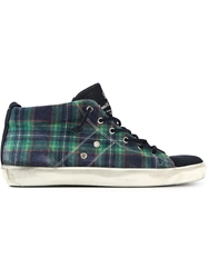 Leather Crown Tartan Mid Top Sneakers Blue