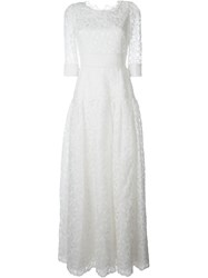 Dolce And Gabbana Embroidered Flower Motif Dress White